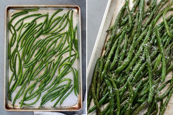 roasted green beans on baking sheet with and without parmesan