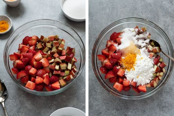strawberry rhubarb pie filling prep