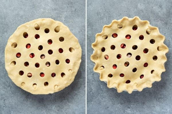 Top crust of strawberry rhubarb pie before and after crimping
