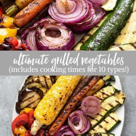 grilled vegetables collage
