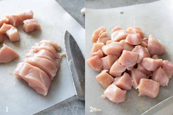 how to cut chicken for kabobs collage