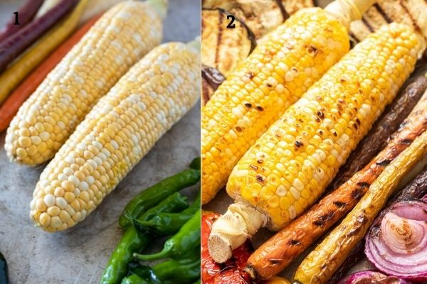 Collage showing corn before and after grilling