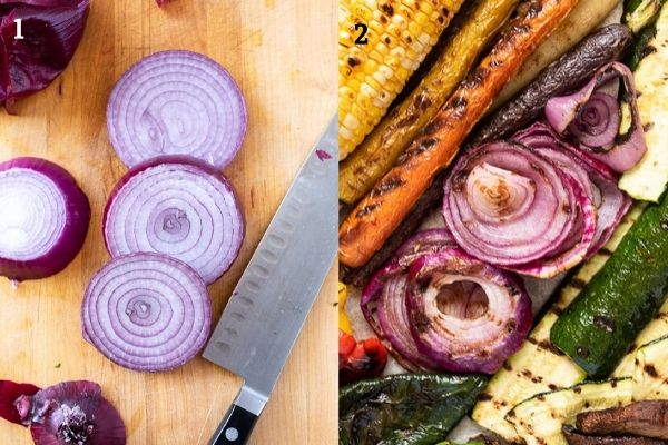 Collage of grilled red onion before and after grilling