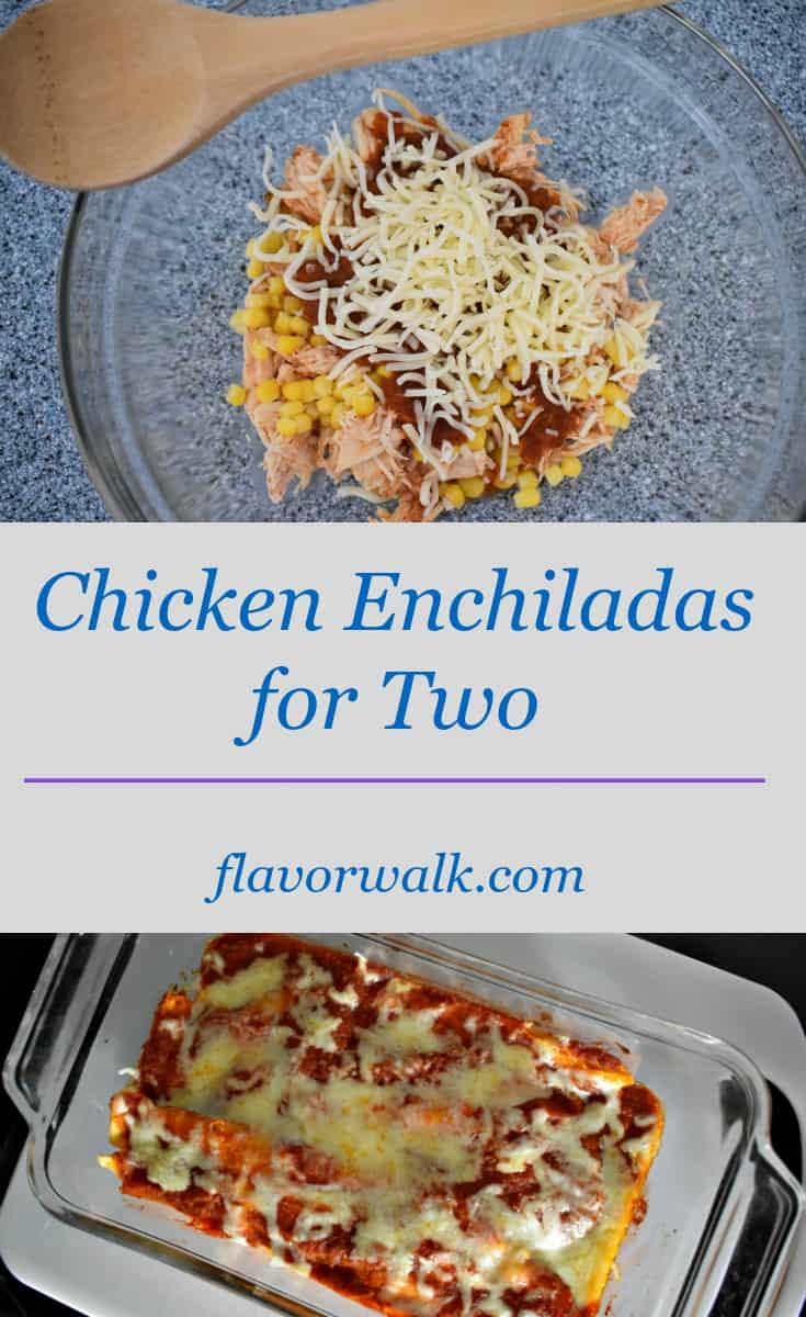 These Chicken Enchiladas are packed with flavor, and are just the right amount for two!
