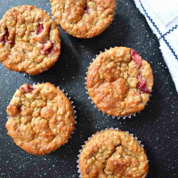Healthy Quinoa Banana and Strawberry Muffins