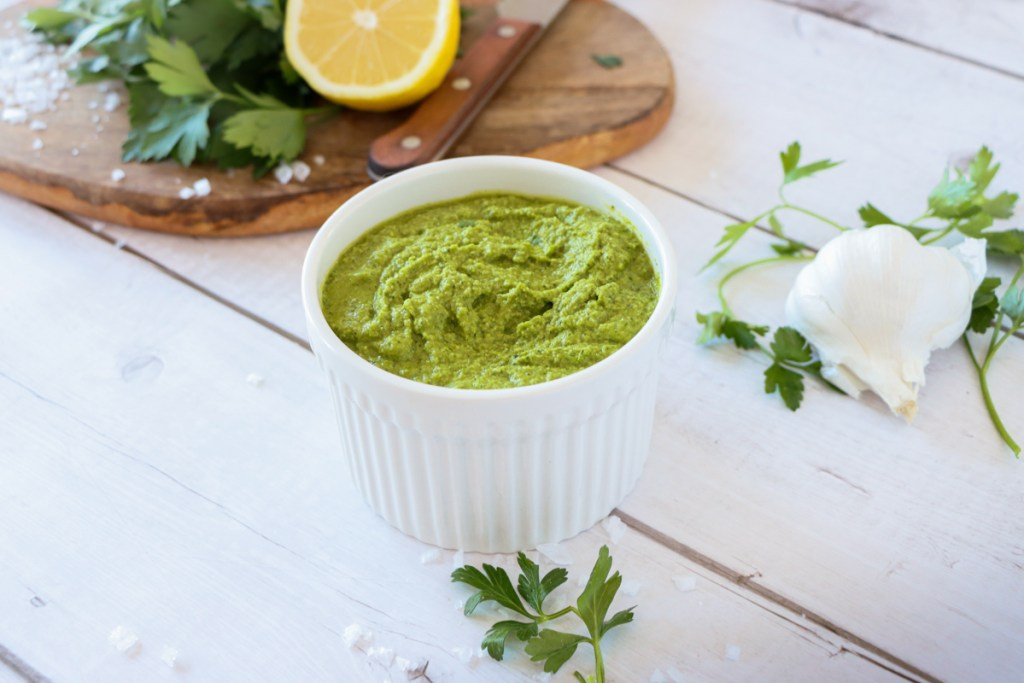 Super-green raw parsley pesto, full of raw greens, vitamins and minerals. Recipe from Flavour-Files.com