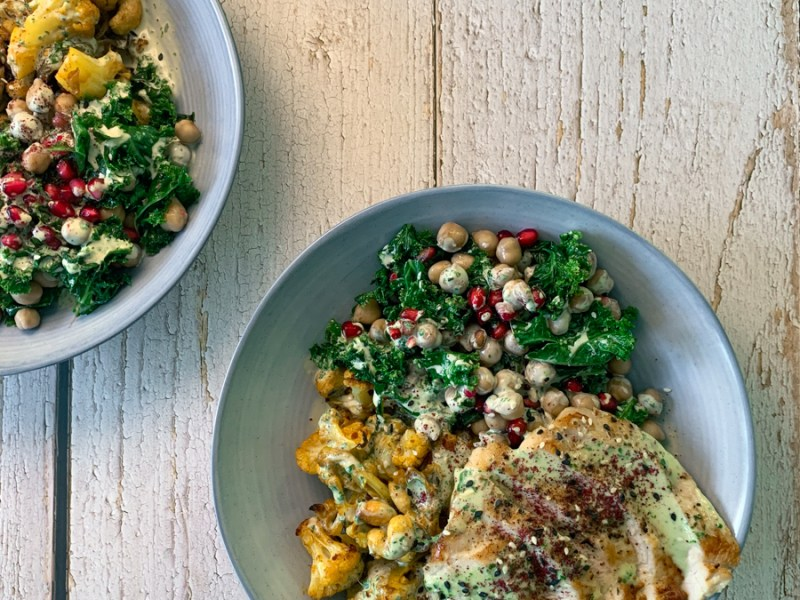 Cauliflower turkey tahini bowl with pomegranates - recipe from Flavour-files.com