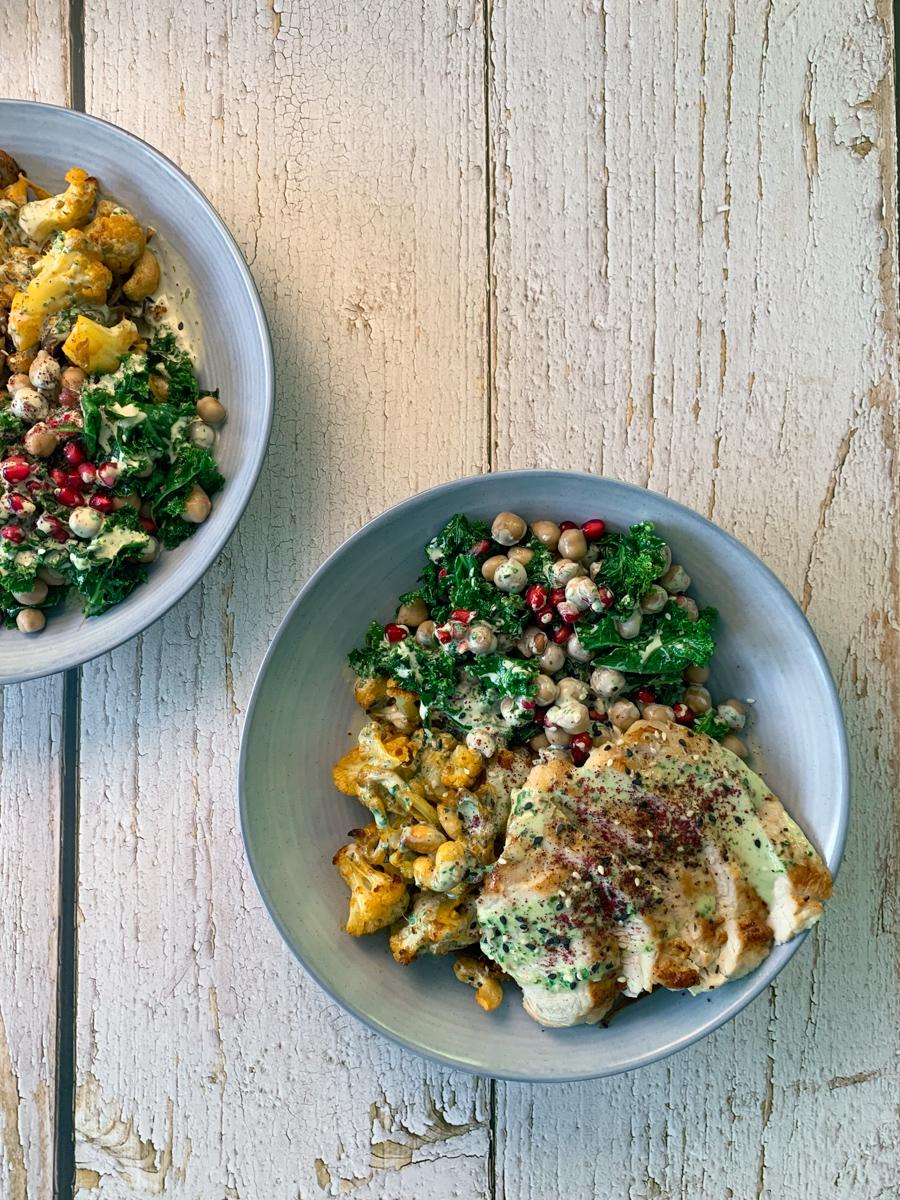 Cauliflower turkey tahini bowl with pomegranates - recipe from Flavour-files.com