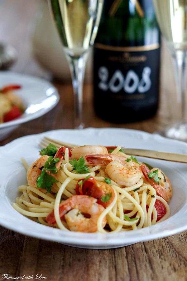 Spaghetti Garnelen Moet Vintage3.k