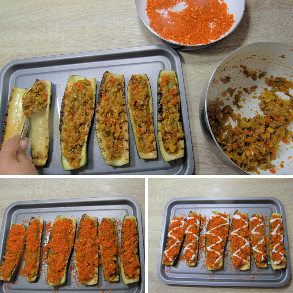 stuffing zucchini boats with cooked vegetables and topping with breadcrumbs ketchup and yogurt
