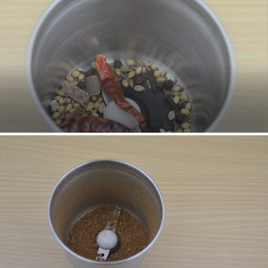 spices in blender before and after grinding