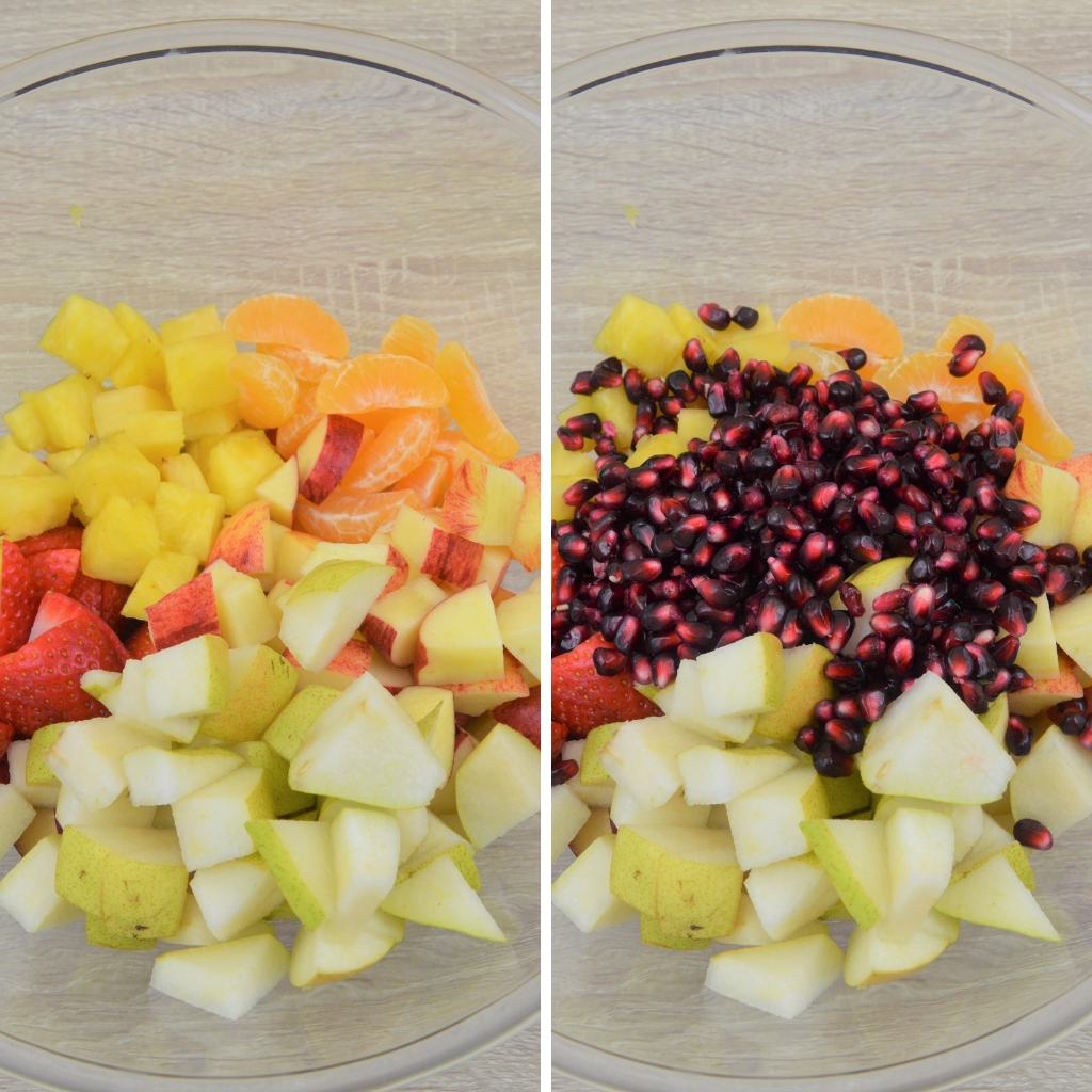 combining fruits in a bowl