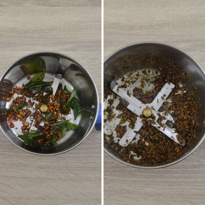 fried spices and dals in a grinder before and after grinding
