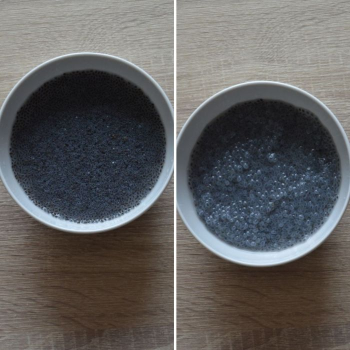 basil seeds before and after soaking in water to make simple lemonade.
