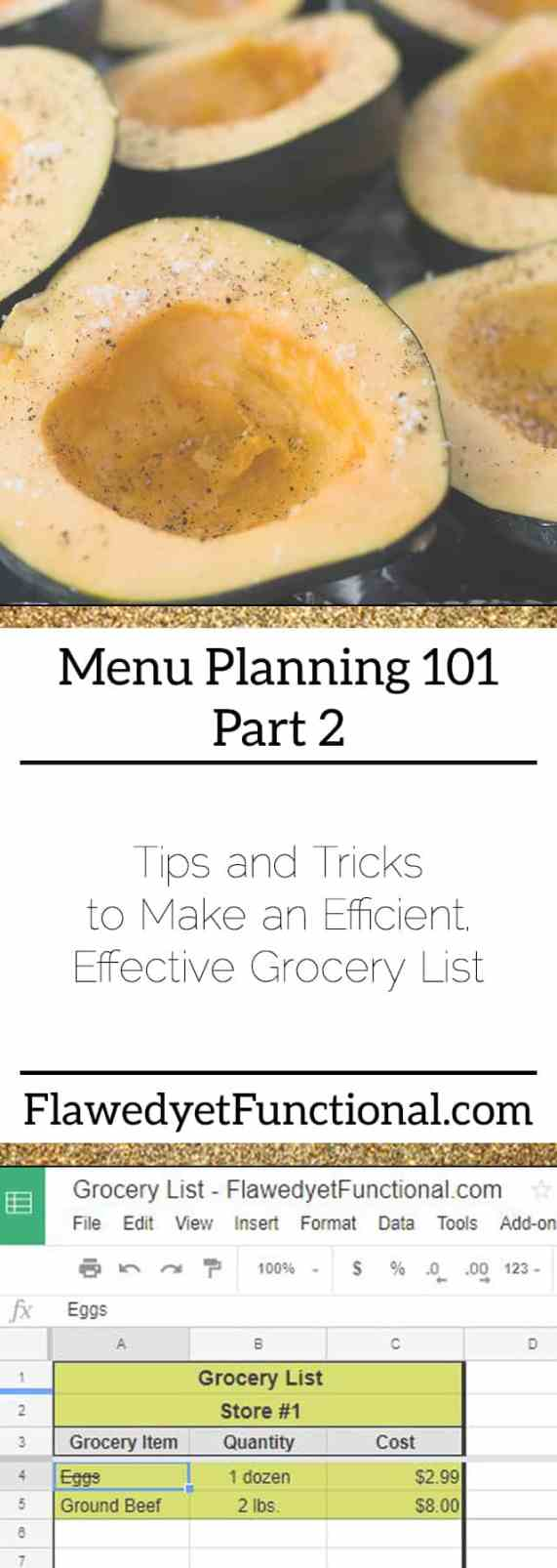 Menu Planning Grocery List