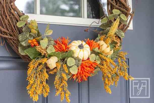 fall pumpkin faux floral wreath