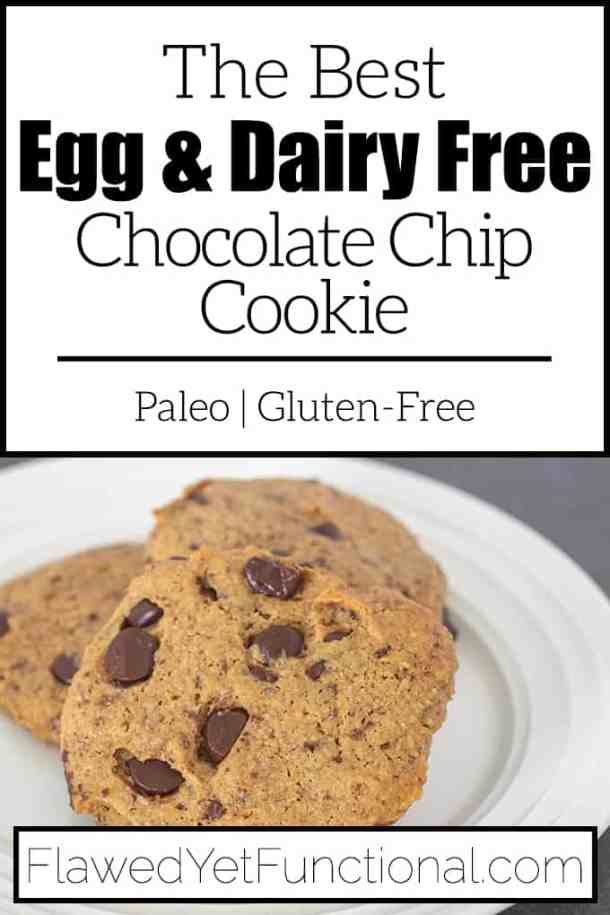 egg-free chocolate chip cookie on white plate