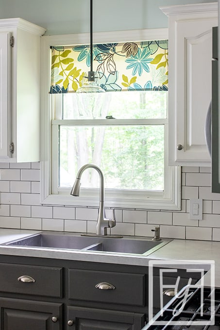 kitchen sink with window and valence