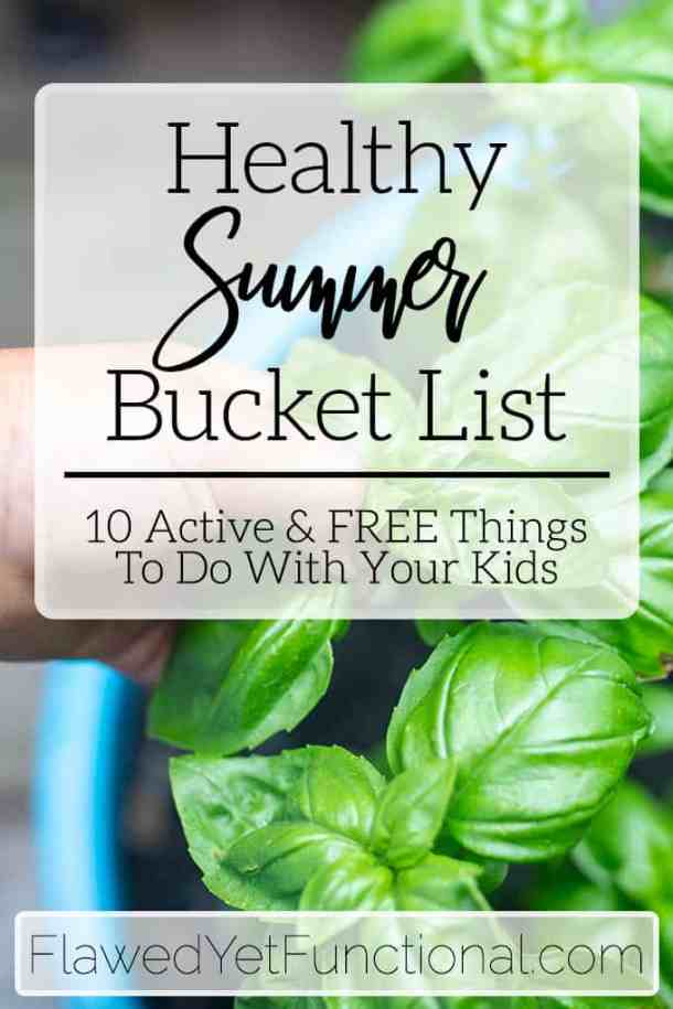 child picking basil healthy summer bucket list