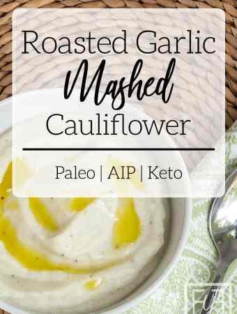 roasted garlic mashed cauliflower in white bowl