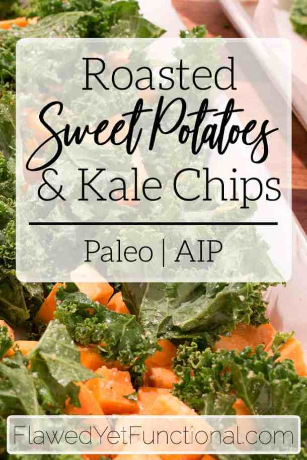 kale and sweet potatoes on sheet pan