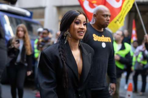 PARIS, FRANCE - SEPTEMBER 26: Cardi B is seen on the street attending Mugler during Paris Fashion Week SS19 on September 26, 2018 in Paris, France. (Photo by Matthew Sperzel/Getty Images)
