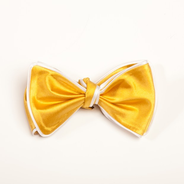 Inspired Knots Satin Yellow Bow Tie With White Piping