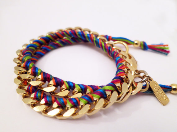 Holbrooke Mini Carnival Double Wrap Gold Friendship Bracelet