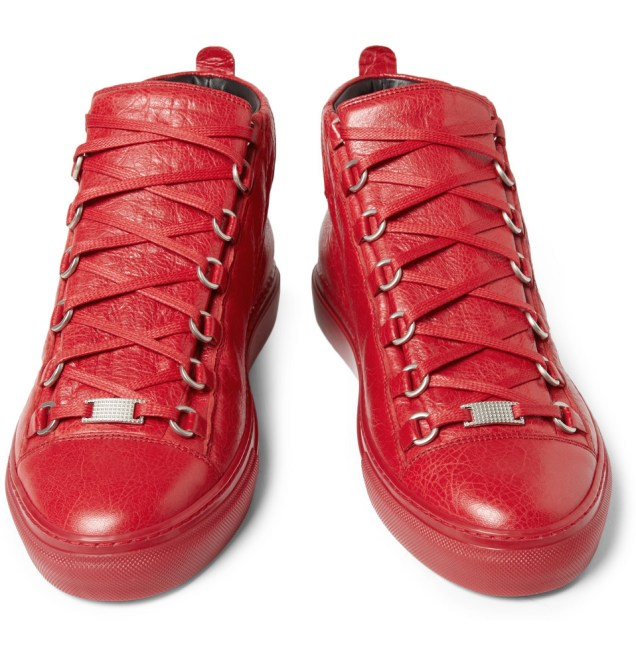 Balenciaga Creased-Leather High Top Sneakers