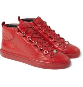 Balenciaga Creased-Leather High Top Sneakers