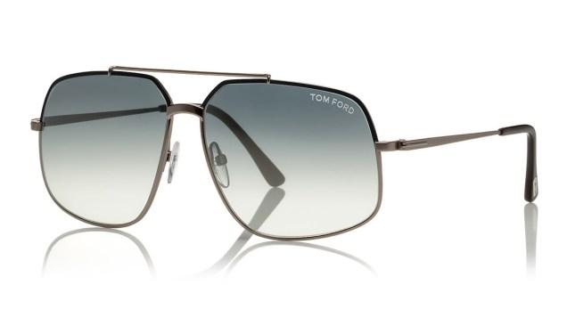 Tom Ford Shiny Metal Aviator Sunglasses Gun Metal Silver