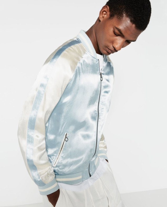 Zara Man Embroidered Sky Blue Jacket 2