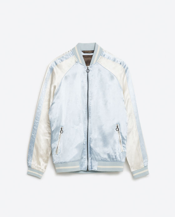 Zara Man Embroidered Sky Blue Jacket 3