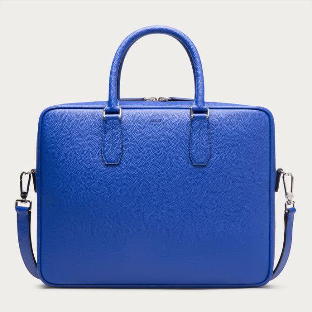 Bally Men's Nikkos True Blue Calf Leather Business Bag