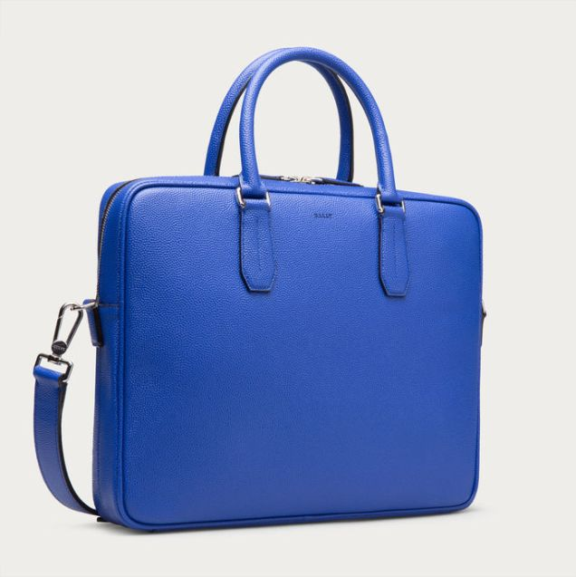 Bally Men's Nikkos True Blue Calf Leather Business Bag 2