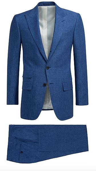 Suitsupply Washington Blue Plain Linen Suit