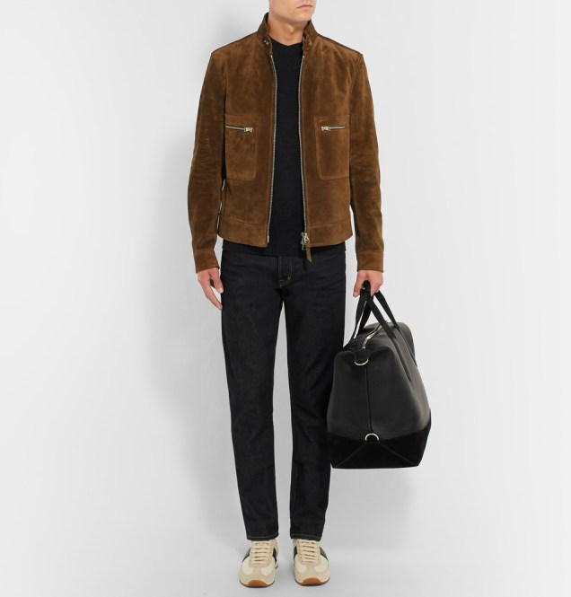 TOM FORD Suede-Trimmed Grained-Leather Holdall