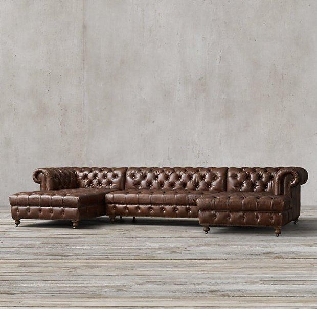Restoration Hardware Cambridge Leather U-Chaise Sectional Sofa