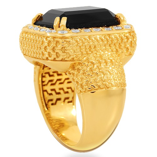 Avianne and Co. 14K Solid Yellow Gold Men's Diamond Onyx Ring