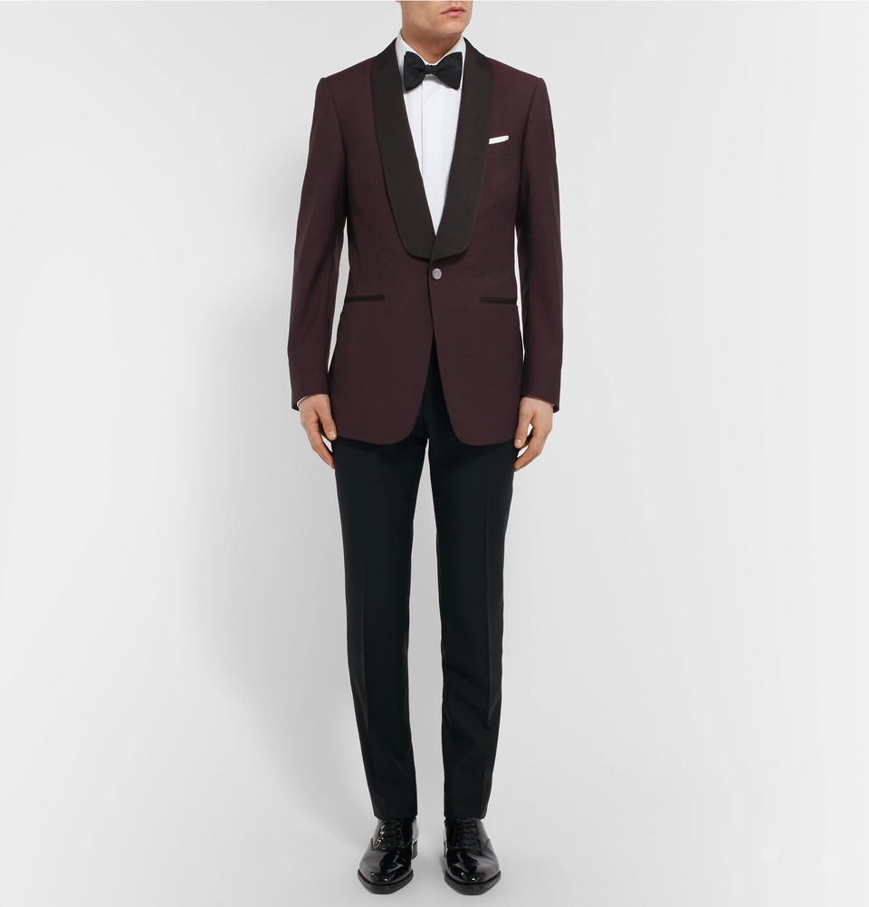 Add a sophisticated touch of color to your closet with the very sharp Dunhill  Burgundy Slim-Fit Slub Wool Tuxedo Jacket.