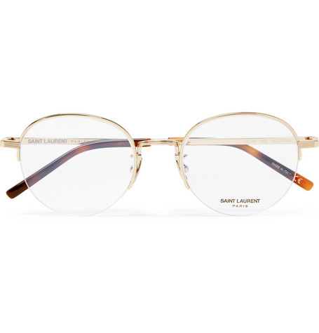 73ce50adcd5 If you can t score vintage Cartier s then trust in Yves Saint Laurent with  their Round-Frame Gold-Tone Optical Glasses.