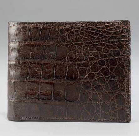 Santiago Gonzalez Crocodile Bi-Fold Wallet Brown