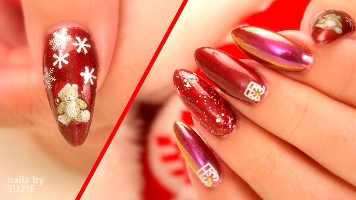 Christmas Nail Art using Chrome, Sparkles and Stickers – FlawlessEnd
