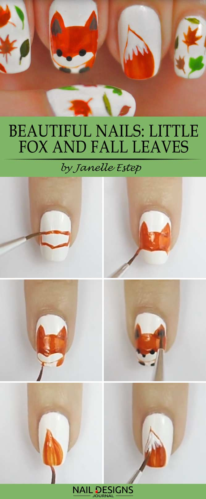 Beautiful Nails Little Fox and Fall Leaves