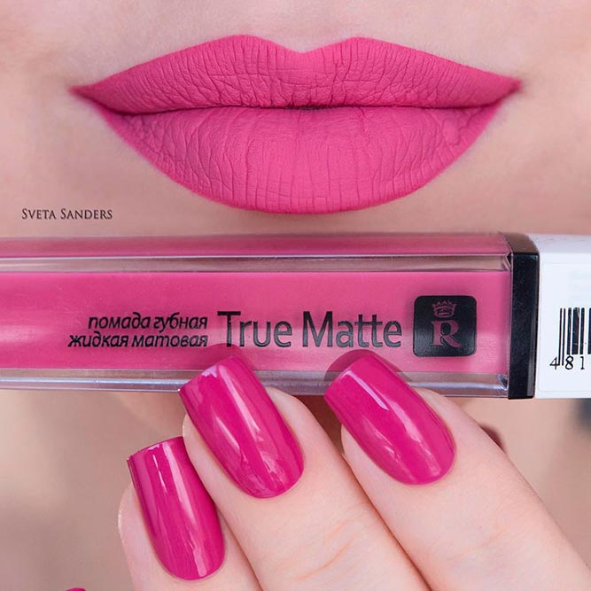 Juicy Pink Lipstick And Matching Nail Polish