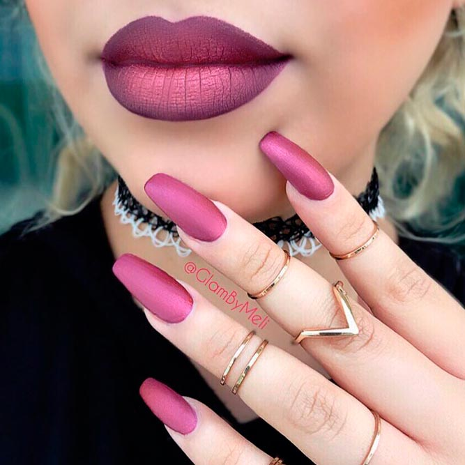 Metallic Redviolet Lipsticks And Nail Polish