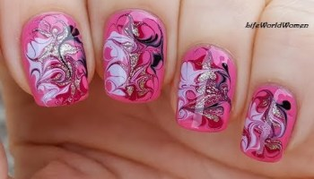 Negative Space Dry Marble Nail Art In Pink Using Scotch Tape