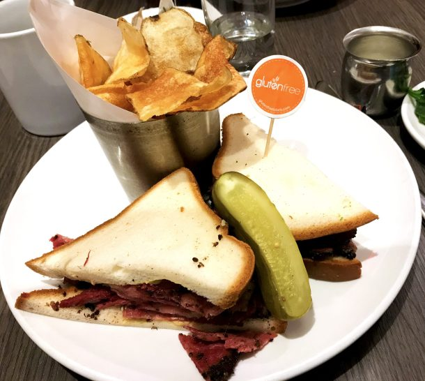 Gluten-free pastrami sandwich from Friedmans is a must-have gluten-free in NYC dish