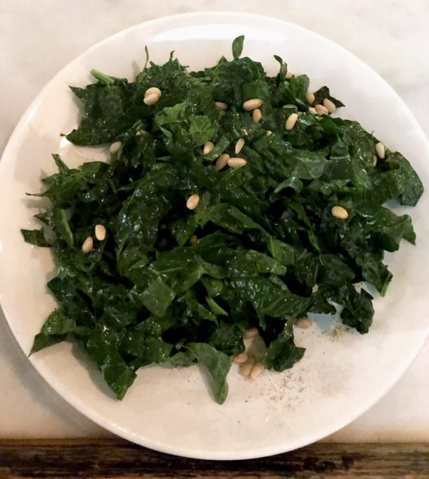 Kale salad with pine nuts is part of gluten free in New York City