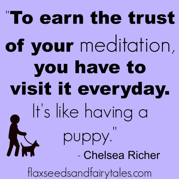 """To earn the trust of your meditation, you have to visit it everyday. It's like having a puppy."" - Chelsea Richer; Meditation Quotes Funny So True"